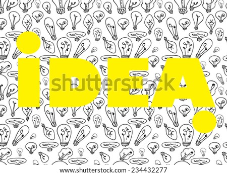 A concept of idea. The word 'idea' is drawn on the light bulbs background. - stock vector