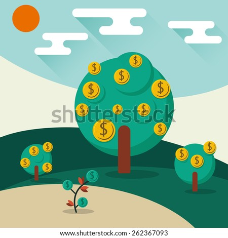 A conceptual illustration of a trees growing money in the form of dollar coins. Concept for profit or economic growth, earning interest or similar growing your money type theme. - stock vector