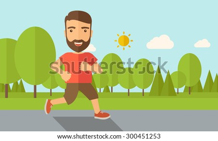 A confident hipster athlete getting ready for a running race. Contemporary style with pastel palette, soft blue tinted background with desaturated cloud. Vector flat design illustrations. Horizontal - stock vector