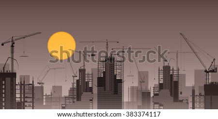 A Construction Site with Tower Cranes and Sunset, Sunrise - stock vector