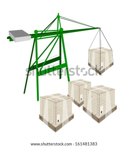 A Container Crane Lifting A Wooden Crate or Cargo Box from Stack, Preparing for Shipment.  - stock vector