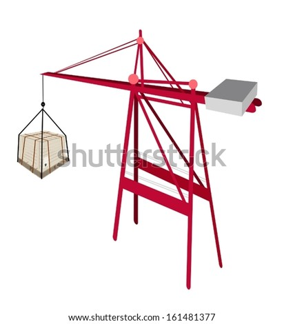 A Container Crane Lifting A Wooden Crate or Cargo Box with Steel Banding, Preparing for Shipment.  - stock vector