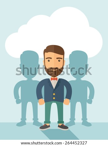 A contented young Caucasian hipster man with beard  wearing a red bow tie and a blue coat. Happily standing  showing that he is successful in life about teambuilding sprite. Happy, winner concept. A - stock vector