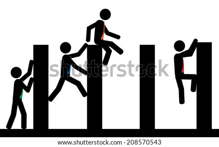 A contest of obstacles between men. It is a stick figure vector.  - stock vector