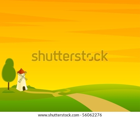 A Country Landscape with Road and mill - stock vector
