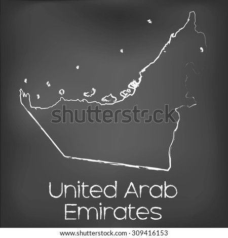 A Country Shape isolated on chalk board with the name and shape of United Arab Emirates - stock vector
