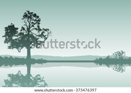 A Countryside Landscape with Tree and Reflection in Water - stock vector