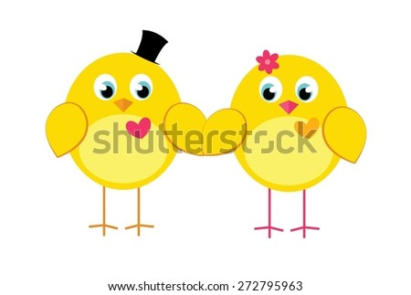 A couple of cartoon chicken holding hands. Vector illustration for wedding, engagement, anniversary, romantic occasions, Valentine's day, summer holidays. - stock vector