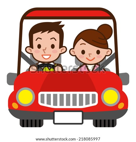A couple of drive Dating - stock vector