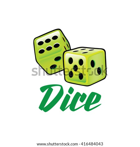 A couple of lime green dice rolling in vector format illustration over white isolated background Dice icon, Dice icon eps10, Dice icon vector, Dice icon eps - stock vector