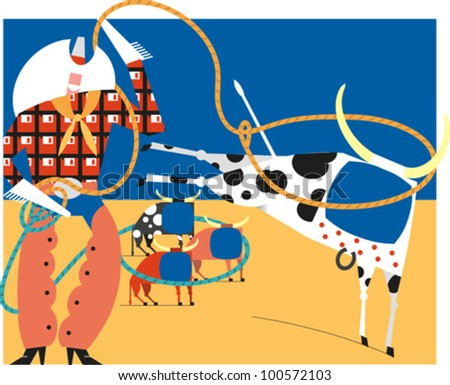 A cowboy lassoing a kicking steer with smaller steers in the distance - stock vector