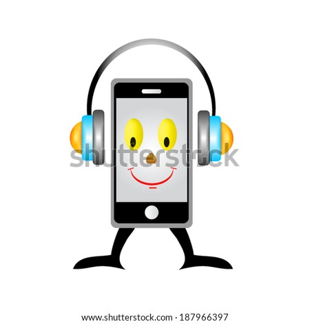 a creative cellphone with headphones isolated on white, portable audio concept - stock vector