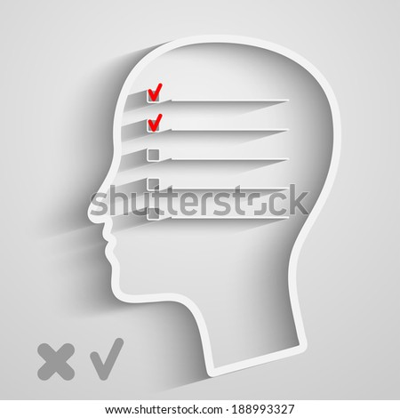 A creative concept of human memory with head and checkbox - stock vector