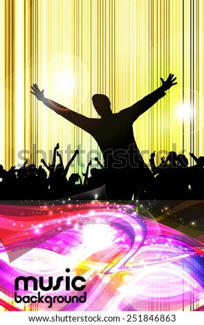 A crowd of people. Music event illustration.  - stock vector