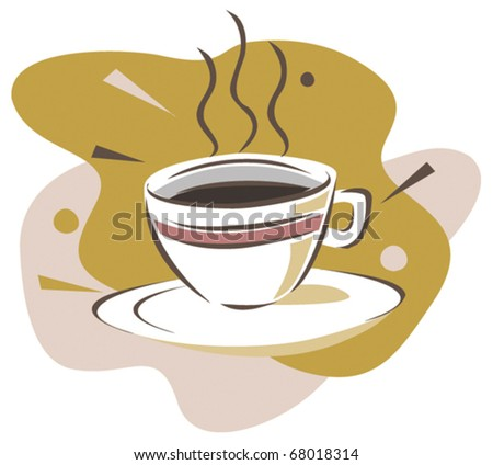 A cup of black coffee. Vector illustration - stock vector