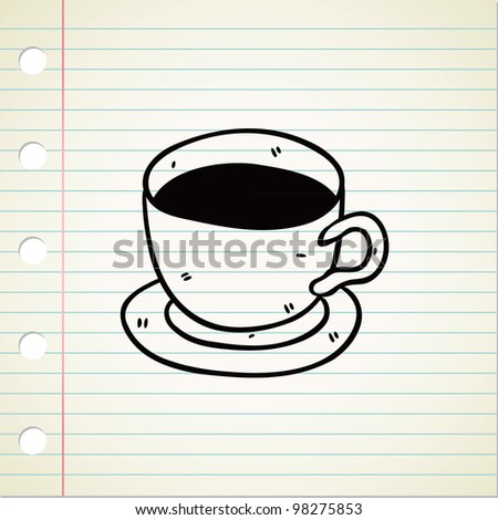 a cup of coffee in doodle style - stock vector