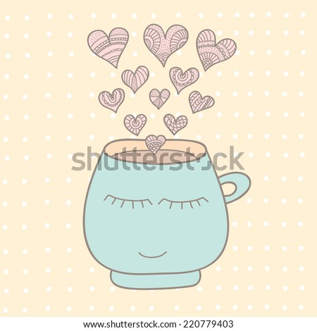 A cup of coffee, tea. - stock vector