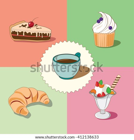 A cup of coffee with a piece of cake, a croissant, a cupcake and an ice-cream vector illustration - stock vector