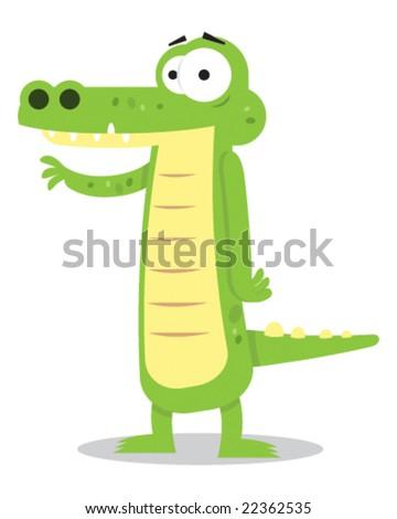 A cute alligator waving at camera. - stock vector