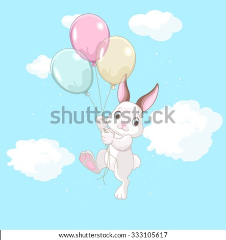 A cute bunny holds of colored balloons  - stock vector