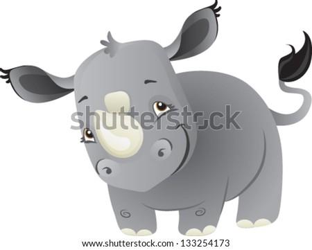 A cute cartoon baby rhino from Africa - stock vector