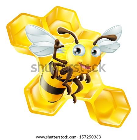 A cute cartoon bee mascot waving in front of honey comb - stock vector