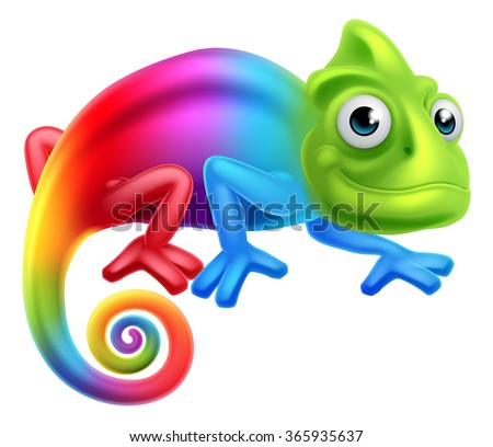 A cute cartoon rainbow coloured multicoloured chameleon lizard character - stock vector