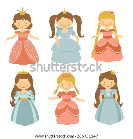 A cute collection of beautiful princesses. Vector illustration - stock vector