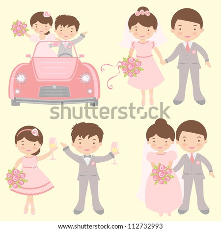 A cute collection of couples getting married - stock vector
