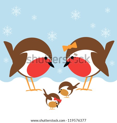 a cute family of robin redbreasts in the snow - stock vector