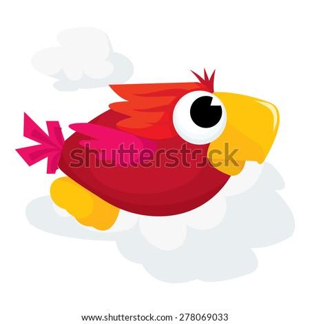 A cute flying parrot cartoon vector illustration. - stock vector