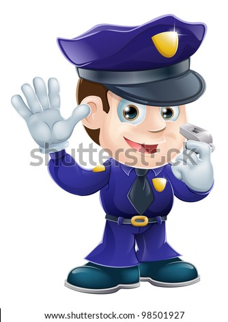 A cute police man character holding a whistle and waving or doing a stop gesture - stock vector