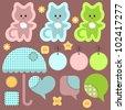 A cute set of babyish elements - stock vector
