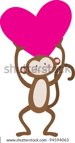A cute, smiling monkey is holding a large pink heart above his head. - stock vector