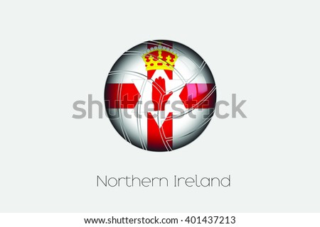 A 3D Football with a Flag Illustration of Northern Ireland - stock vector
