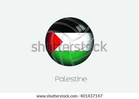 A 3D Football with a Flag Illustration of Palestine - stock vector