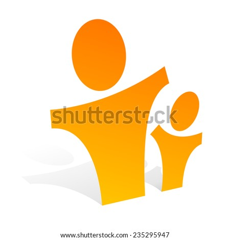 A 3d paper figures of a child and adult - stock vector