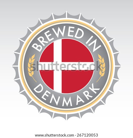 A Danish beer cap crest in vector format. The bottle cap features the Danish flag flanked by two golden wheat icons. - stock vector