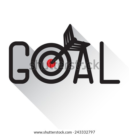 A dart is in the center of a dartboard. Goal concept  - stock vector