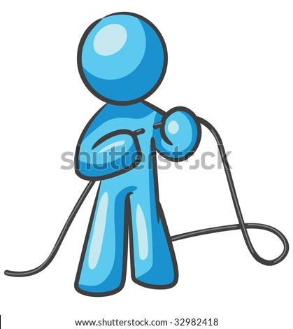 """A design mascot fixing a cord, or """"tying up loose ends"""". - stock vector"""