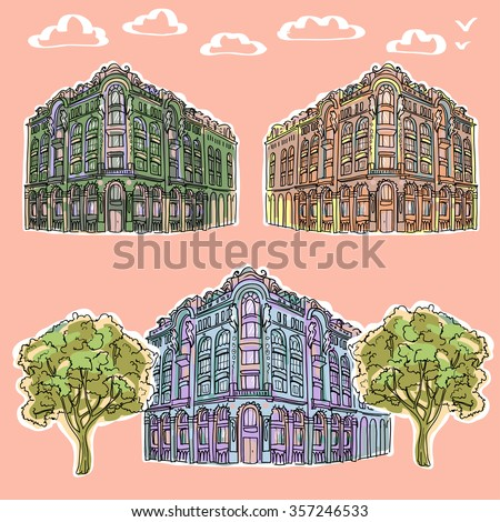 A detailed sketch of the architecture. - stock vector