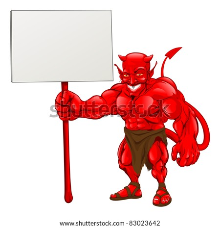 A devil cartoon character illustration standing with sign - stock vector