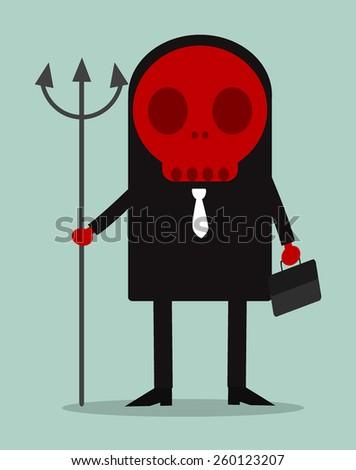 A devilish businessman in a suit - stock vector