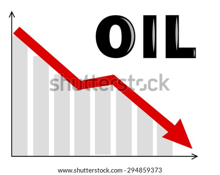 a diagram with an oil text and an arrow going down - stock vector