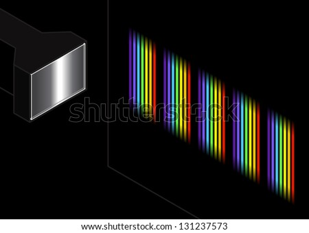 A diffraction grating splitting white light into a series of spectra. - stock vector
