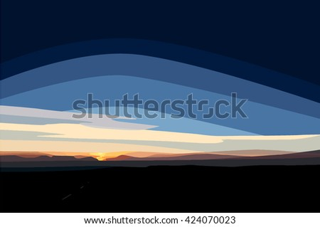 A digital painting of the sunrise above Scammonden Reservoir, West Yorkshire, England, UK - stock vector