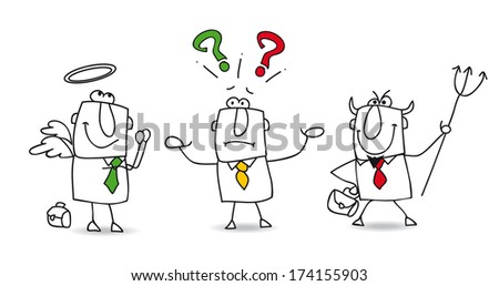A Director of Human Resources is not sure of  his choice. - stock vector