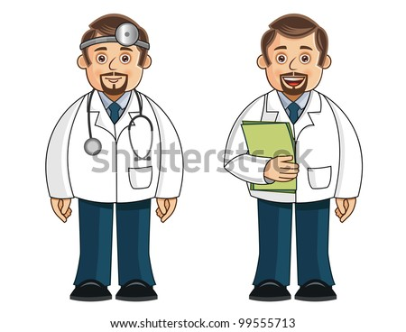 A doctor in 2 different poses. This is an EPS 8.0 vector with no transparencies used. All elements are neatly placed and easily editable. - stock vector