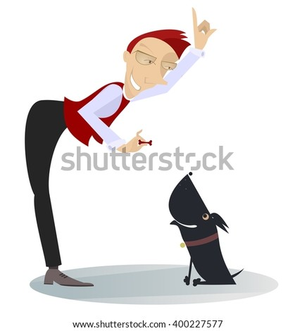 A dog trainer. Smiling man trains a dog  - stock vector