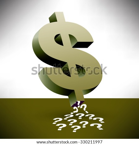 A dollar sign sucking up question marks along with financial insecurity - stock vector